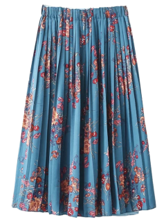 Floral Printed Elastic Waist Pleated Skirt - Light Blue S