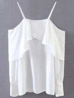 El Resbalón De La Blusa Con Volantes - Blanco