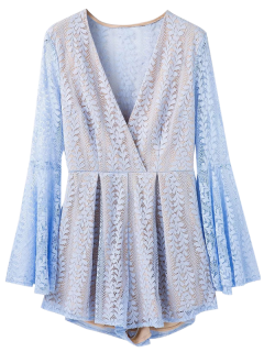 Crossover Lace Bell Sleeve Romper - Light Blue S