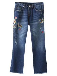 Frayed Hem Floral Cropped Jeans - Blue M