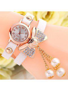 Faux Leather Bowknot Bracelet Watch - White