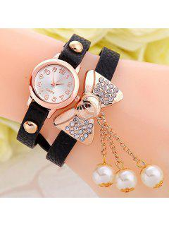 Faux Leather Bowknot Bracelet Watch - Black