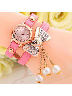 Faux Leather Bowknot Bracelet Watch - Pink