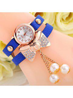 Faux Leather Bowknot Bracelet Watch - Blue
