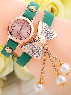 Faux Leather Bowknot Bracelet Watch - Green