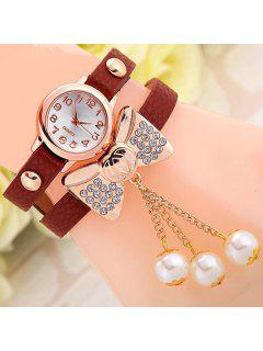 Faux Leather Bowknot Bracelet Watch - Brown
