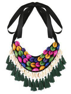 Ribbon Shell Tassel Necklace
