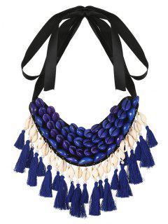 Collar De La Borla De La Cinta De Shell - Azul