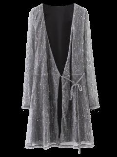Glitter Sequines Wrap Mini Vestido - Gris Oscuro S