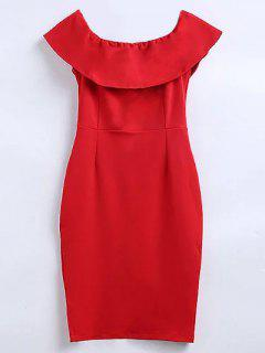 Off The Shoulder Ruffle Slit Robe Crayon - Rouge L
