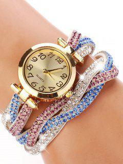 Rhinestone Studded Wrap Bracelet Watch - White