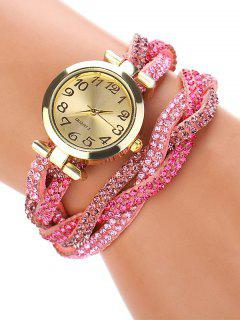 Rhinestone Studded Wrap Bracelet Watch - Pink