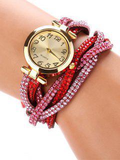 Rhinestone Studded Wrap Bracelet Watch - Red