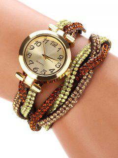 Rhinestone Studded Wrap Bracelet Watch - Brown