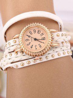 Rivet Studded Layered Bracelet Watch - White