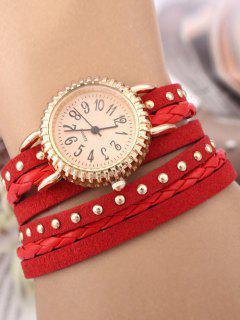 Rivet Studded Layered Bracelet Watch - Red