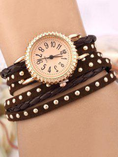Rivet Studded Layered Bracelet Watch - Brown