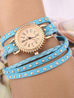 Rivet Studded Layered Bracelet Watch - Azure
