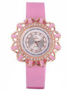 Reloj De Cuarzo Patrón Flores Cuero De Imitación  - Rosado
