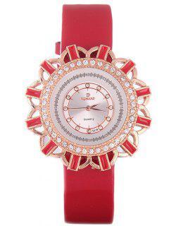 Faux Leather Flower Quartz Watch - Red
