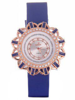 Reloj De Cuarzo Patrón Flores Cuero De Imitación  - Azul