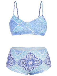 Plus Size Printed Cami Bikini - Blue L
