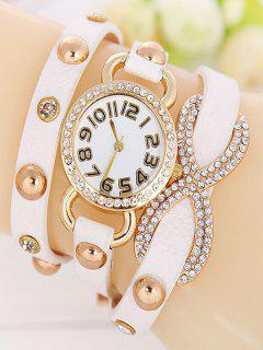 Rhinestone Infinite Wrap Bracelet Watch - White
