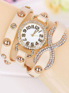 Rhinestone Infinite Wrap Bracelet Watch - Beige