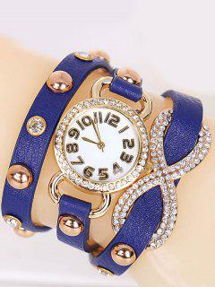 Rhinestone Infinite Wrap Bracelet Watch - Blue