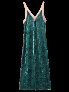 Front Slit Crushed Velvet Maxi Tank Dress - Deep Green