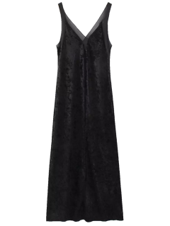 Avant Slit Crushed Velvet Tank Dress Maxi - Suédé Noir