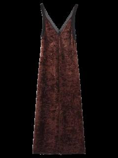Front Slit Crushed Velvet Maxi Tank Dress - Deep Brown