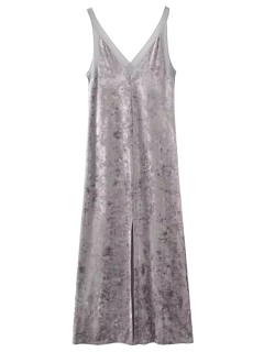 Front Slit Crushed Velvet Maxi Tank Dress - Silver Gray