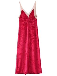Avant Slit Crushed Velvet Tank Dress Maxi - Rouge