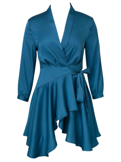 Satin Wrap Robe Tea Dress - Peacock Blue S