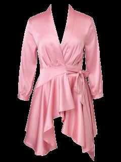 Satin Wrap Robe Tea Dress - Pink L