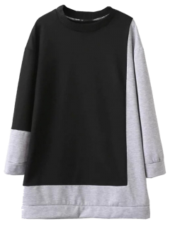 Two Tone Oversized Sweatshirt Dress - Black And Grey S