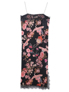 Dentelle Hem Slit Floral Maj Slip Dress - Noir M