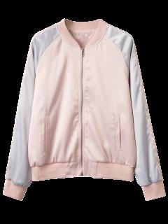 Glossy Satin Bomber Jacket - Pink M