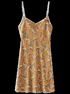 Vestido Tiras Delgadas Flores Pequeñas - Ocre Amarillo L