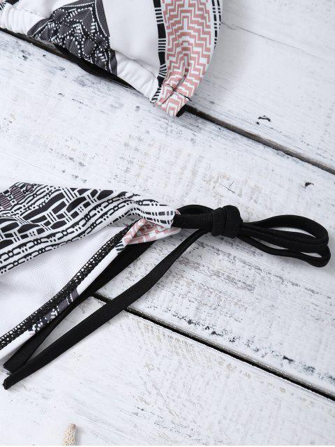 shops Geometric Tie Side Halter Bikini Set - MULTICOLOR S Mobile