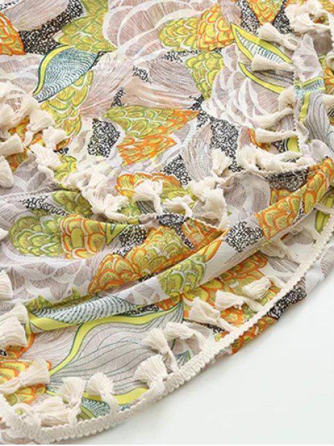 buy Bohemian Printed Tassel Kimono - FLORAL L Mobile