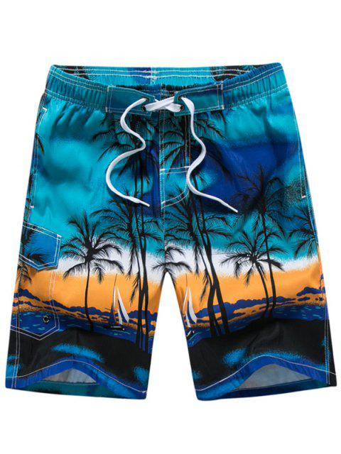 affordable 3D Coconut Tree Print Board Shorts - BLUE M Mobile