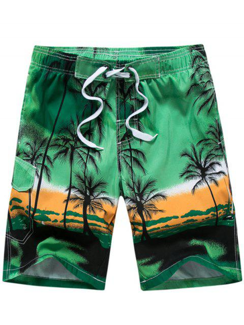 3D Coconut Tree Print Board Shorts - GREEN 2XL Mobile