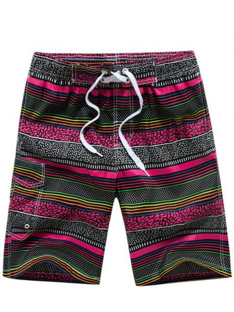 Shorts de bain à rayures avec impression de pois polka - Rouge XL Mobile