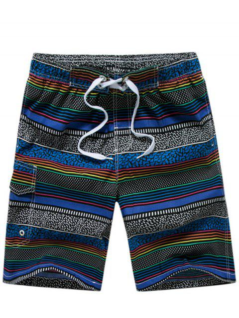 Pantalones Cortos Tela Rayas Puntos - Azul XL Mobile