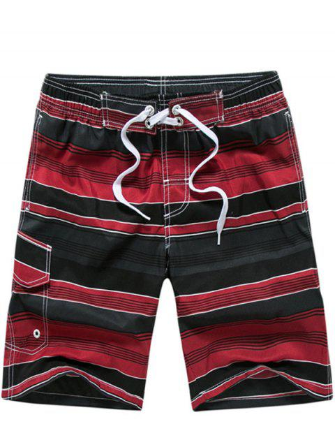 fashion Color Block Striped Panel Print Board Red Shorts - RED M Mobile