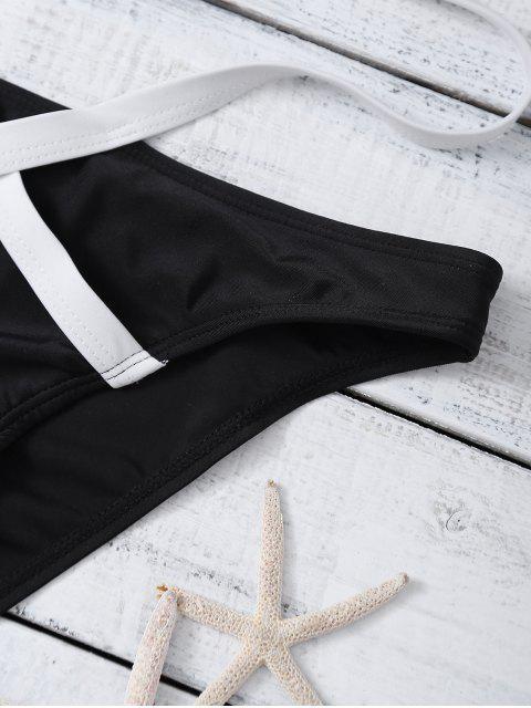 women's Strappy Two Tone One Piece Swimwear - BLACK M Mobile