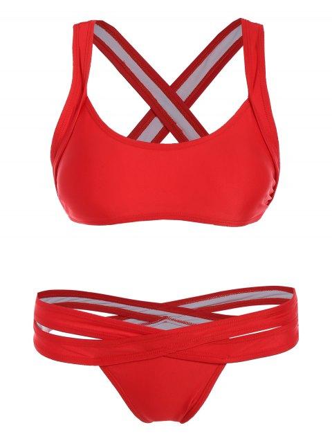 women's Cut Out Sporty Bikini - RED L Mobile