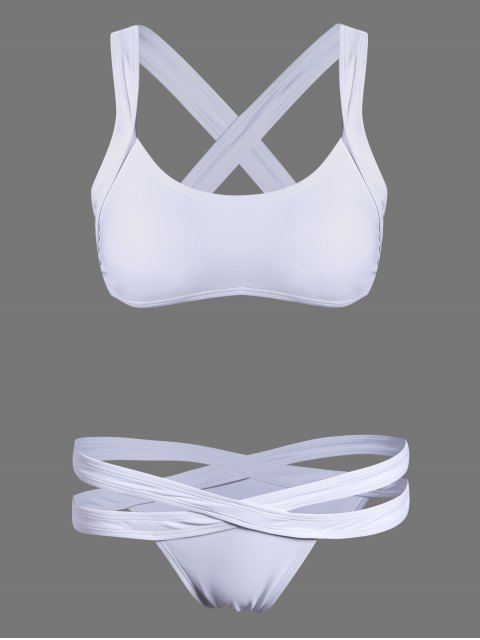 buy Cut Out Sporty Bikini - WHITE L Mobile